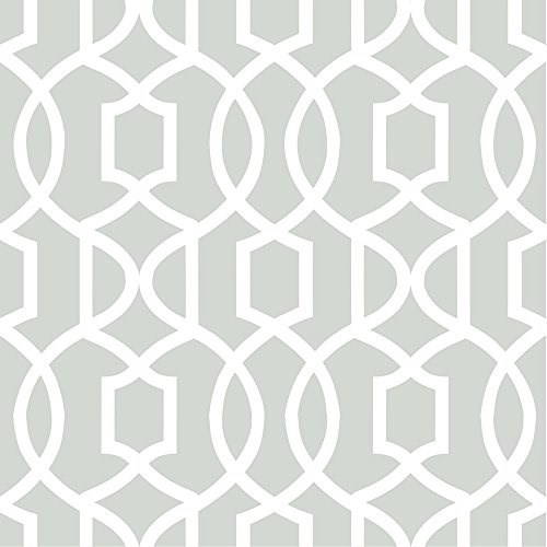 NuWallpaper Grand-Graticcio Gray Peel and Stick-Carta da parati