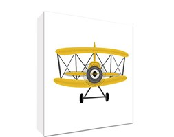 Feel Good Art PLANE3030-06R-IT Quadro su Tela da Muro in Stile Illustrativo con Aeroplano Annata, Giallo/Bianco, 78 x 78 x 4 cm