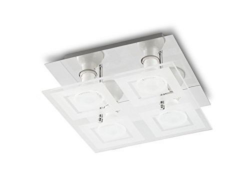 Plafoniera Quadrata : Prolight 367200204 plafoniera quadrata vetro led 4 x 3 w metallo