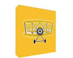 Feel Good Art PLANE2020-06IT Quadro su Tela da Muro in Stile Illustrativo con Aeroplano Annata, Giallo, 51 x 51 x 4 cm