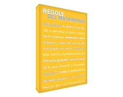 Feel Good Art MGR2436-06IT Quadro su Tela da Muro in Moderno Stile Tipografico Regole del Matrimonio, Giallo, 91 x 60 x 4 cm