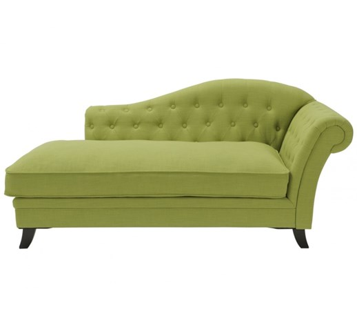 Chaise longue a sinistra in cotone e lino DIPLOMATIE - Verde anice