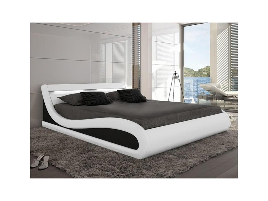 Letto ZALARIS - 160 x 200 cm - Similpelle bianca con LED Camera da ...