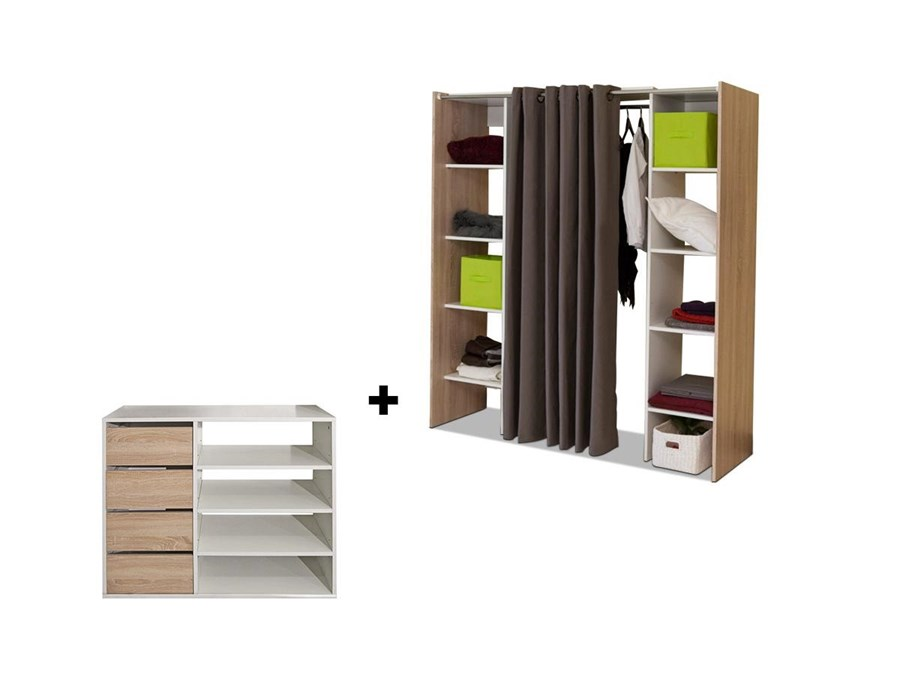 Credenza Camera Da Letto : Set guardaroba credenza emeric quercia e taupe arredo camera