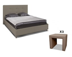 Set CAMERA SORIA e MADELY - Letto 140x190 cm - Similpelle taupe
