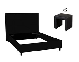 Set CAMERA SORIA e MADELY - Letto 140x190 cm e 2 comodini - Similpelle nero