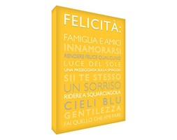 Feel Good Art HAPPINESS1216-06IT Quadro su Tela da Muro in Moderno Stile Tipografico con Testo Felicità, Giallo, 40 x 30 x 4 cm