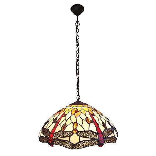 Interfan lampada a sospensione tiffany Dragonfly E27, Multicolore LED