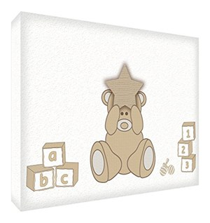 Feel Good Art BEARHEART1624-01IT Quadro su Tela da Muro, Disegno Felice Orsacchiotto, Beige, 60x40x4 cm Beige