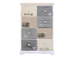 Cassettiera decorata con scritte stile shabby e industrial - RE4484 - Mobili Rebecca® Multicolore Shabby Industriale