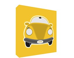 Feel Good Art SPORTSCAR3030-06IT Quadro su Tela da Muro in Stile Illustrativo con Auto Annata, Giallo, 78 x 78 x 4 cm