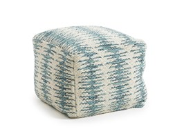 Kave Home Pouf Helly, in Tessuto - Blu,Bianco
