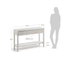 Kave Home Consolle Words, in Legno - Bianco Grigio