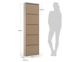 Kave Home Scarpiera Ode 5 ante, in Metallo - Beige Metallo
