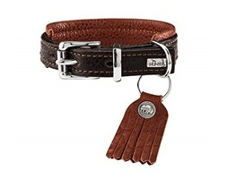 HUNTER CODY COMFORT Collare per cani in pelle, rustico, 35 (XS-S), marrone scuro/cognac