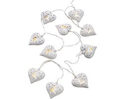 Catena luminosa a LED Cuori con renne