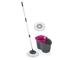 Leifheit Set Rotation Disc Mop Grigio Rosa