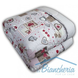 Trapunta Tirolese Dis. Cuore Country Made In Italy Puro Cotone 2 Piazze Cotone