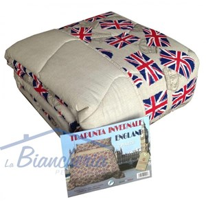 Trapunta Bandiera Inglese Inghilterra Flag Made In Italy Puro Cotone 2 Piazze