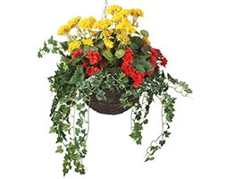 Closer2Nature Artificiale Rosso Begonia e Giallo Geranio Display in Una Round Willow Hanging Basket