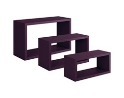 Set di 3 pezzi, Mensola a cubo Spaceo L 45 x H 27 cm, Sp 15 mm viola Nero