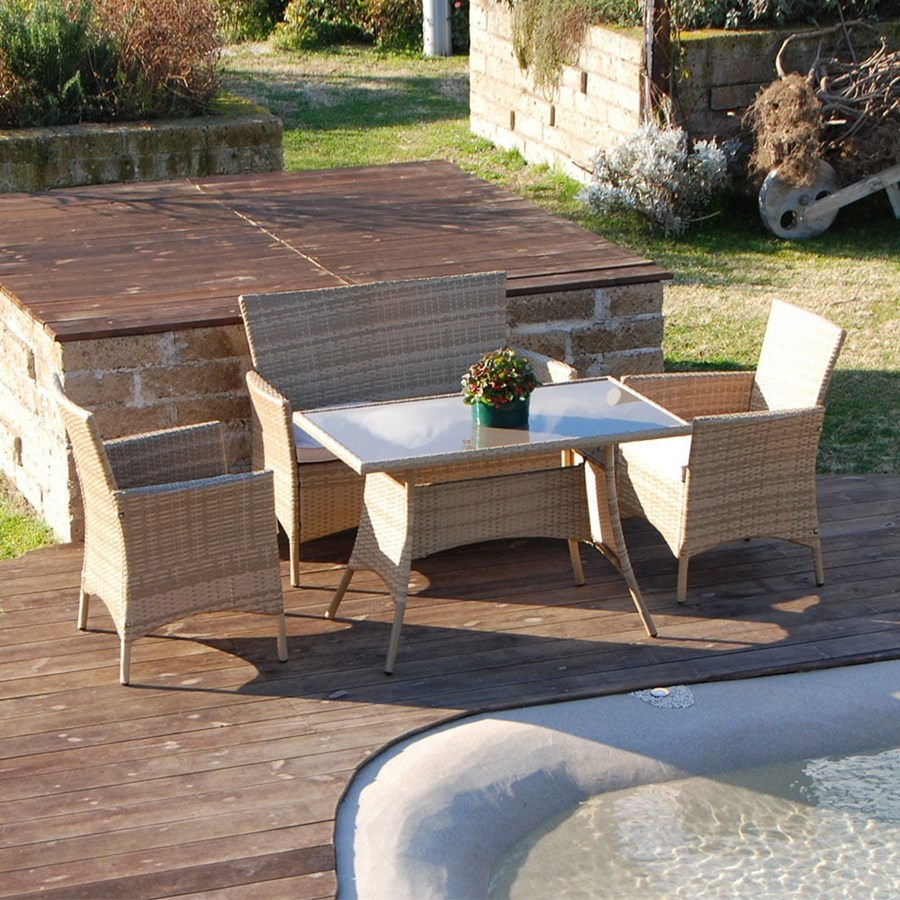 Set salottino polyrattan color naturale divano poltrone for Tavolino per divano