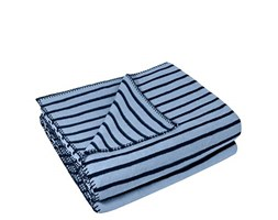 Zoeppritz since 1828 - Coperta in Pile a Righe con Punto Uncinetto, Morbida, 160 x 200 cm, 515 Water, 160 x 200 cm