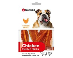 Flamingo Karlie 512449 16 x Chick N Snack Rawhide – Twisted Sticks (16 x 55 g) Marrone