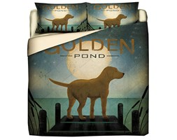 Trapuntino Quilt Con Stampa Pet Therapy Golden Retriever - Matrimoniale/