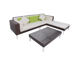 vidaXL Set da Giardino 17 pz. in Poly Rattan Marrone