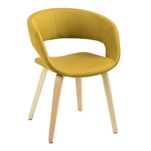 Sedia Grace vintage in tessuto color giallo curry