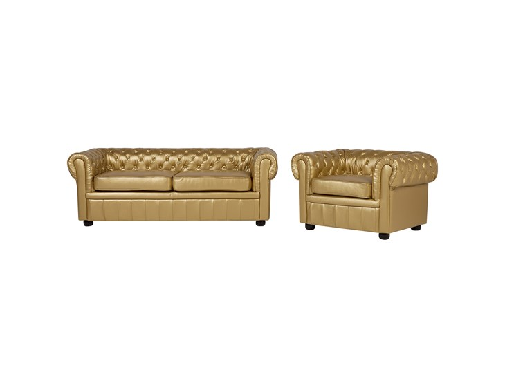 Divani E Poltrone In Pelle.Set Divano E Poltrona In Pelle Sintetica Color Oro Chesterfield