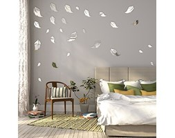 FLEXISTYLE Specchio Decorativo Leaves, Modern Design Decoration, 3mm Acrylic Mirror from EU, Living Room, Bedroom, Hallway, Unbreakable, DIY Home Decoration, Silver, Made in EU