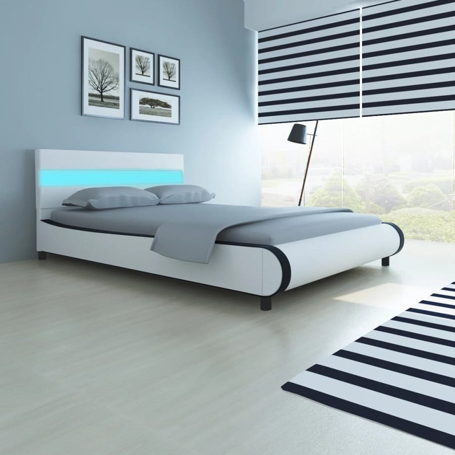 vidaXL Letto con testata luminosa a LED 140 cm pelle artificiale Glamour  Design Ecopelle Moderno Camera da letto