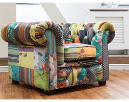 Poltrona vintage in tessuto patchwork multicolore giallo CHESTERFIELD