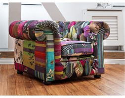 Poltrona vintage in tessuto patchwork multicolore viola CHESTERFIELD