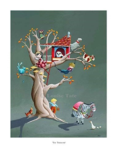 Louise Tate Illustration Tree House Print, 400 mm x 500 mm