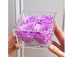 100% Real Roses That Last A Year - The Perfect Unique Gift for Women, Men, Anniversary Gift, Birthday Gift – White Gold Quartet (Lilac)