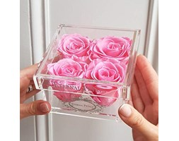 100% Real Roses That Last A Year - The Perfect Unique Gift for Women, Men, Anniversary Gift, Birthday Gift – White Gold Quartet (Pink)