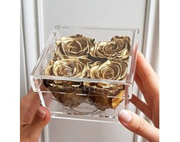 100% Real Roses That Last A Year - The Perfect Unique Gift for Women, Men, Anniversary Gift, Birthday Gift – White Gold Quartet (Gold)
