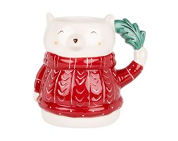 Mug orso in porcellana bianca e rossa Porcellana