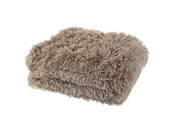 Catherine Lansfield Cuddly Shaggy Plaid, Poliestere, Natural, a una Piazza