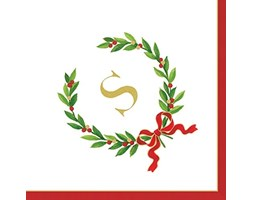 Caspari 14150C.S Entertaining with Christmas Laurel Wreath Monogram Inizial S-Tovaglioli di Carta, Bianchi, Confezione da 30 Beige