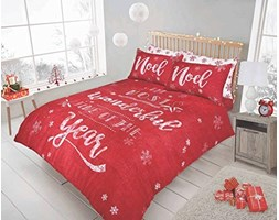 Sleepdown Christmas Chalk Board Red Set Copripiumino, Singolo singolo