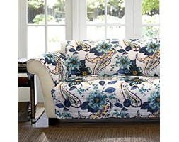 Lush Decor Paisley floreale fodera/Furniture Protector for Loveseat, blu