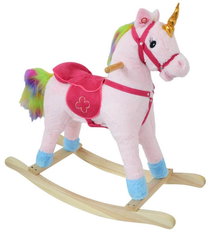 Cavallo A Dondolo Unicorno H80 Cm In Peluche Kids Joy Rosa