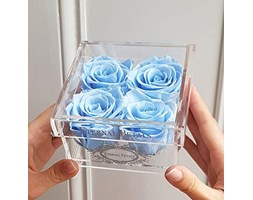 100% Real Roses That Last A Year - The Perfect Unique Gift for Women, Men, Anniversary Gift, Birthday Gift – White Gold Quartet (Light Blue)