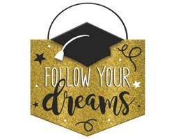 "Amscan 242111 - Decorazione da appendere in MDF, motivo:""Follow Your DreamGraduation"""