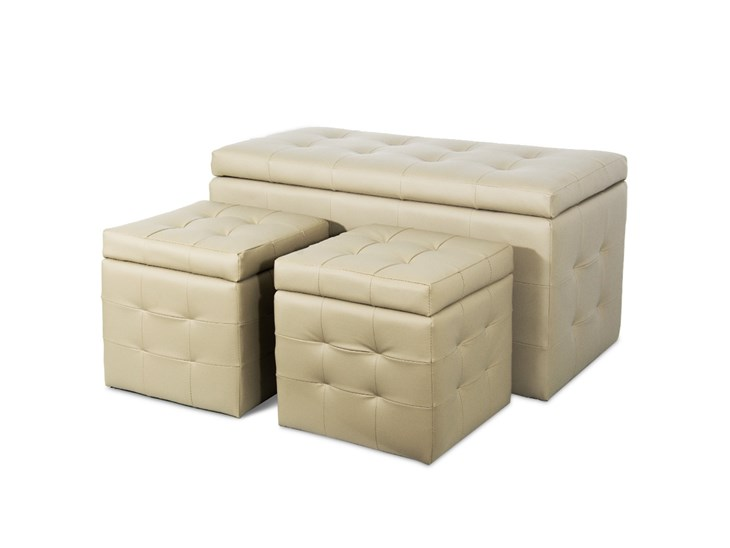 Panche Contenitori Leroy Merlin.Panca Contenitore 2 Pouf Ecopelle Sabbia Pankycoluxury S Beige