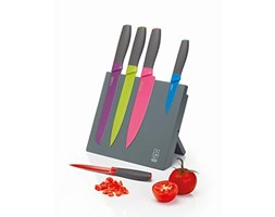 Colourworks CWKNBMAG5PC Kitchen Set with Magnetic Knife Block in Gift Box, Stainless Steel Marrone